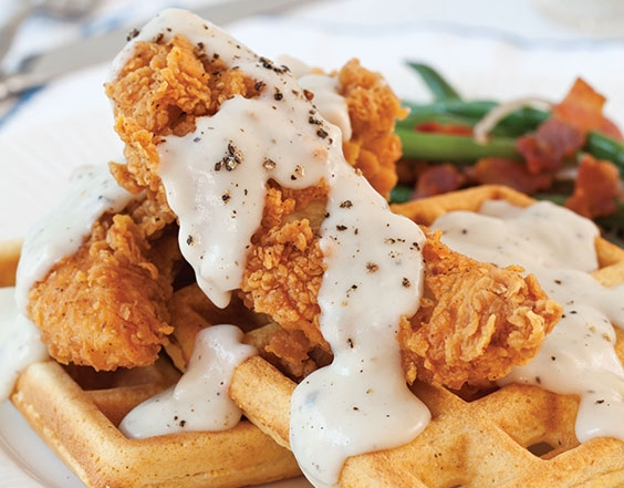 chicken and waffles with sage gravy