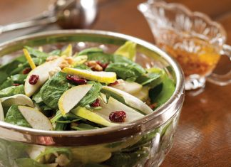 Autumn Pear Salad with Warm Bacon Vinaigrette