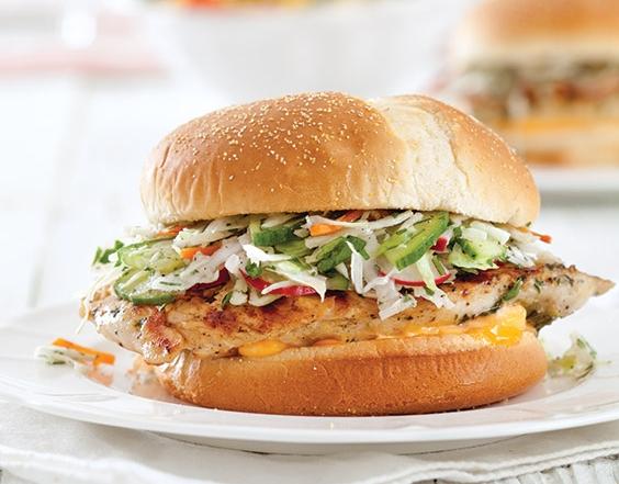 Grilled Chicken Sandwiches with Cucumber Radish Slaw