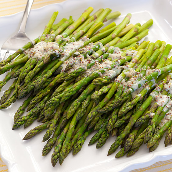 Streamed Asparagus with Mustard Tarragon Sauce