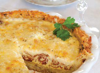 ham, cheese, and potato quiche