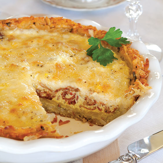Bacon and Cheese Quiche with Potato Crust - Paula Deen ...