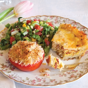 quiche, tomato, and salad luncheon menu