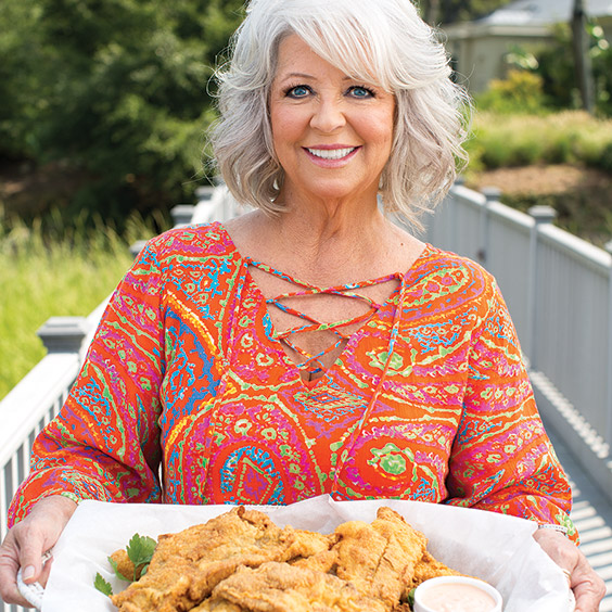 Paula Deen with fried catfish for fish fry