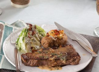 Strip Steaks with Balsamic Butter Sauce