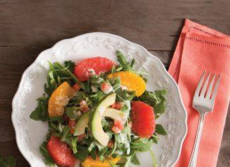 Arugula and Grapefruit Salad with Grapefruit-Poppy Seed Dressing