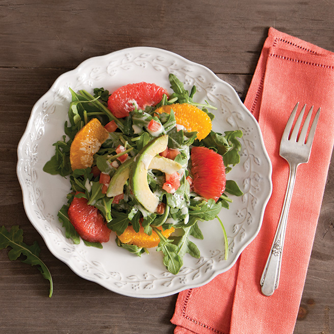 Arugula and Grapefruit Salad with Grapefruit-Poppy Seed Dressing
