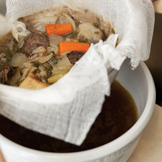 straining beef broth