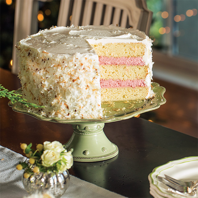 Coconut Cake with Cranberry Mousse Filling - Recipe of the Week