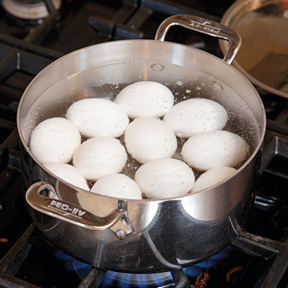 boiling eggs in a saucepan