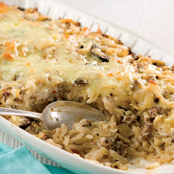 Hash Brown, Sausage, and Caramelized Onion Casserole