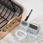 roasting pan, twine, timer, and thermometer