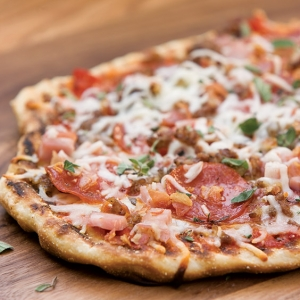 loaded meat pizza
