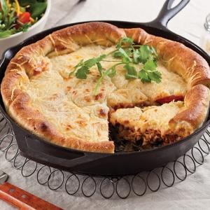 pork and green deep dish pizza