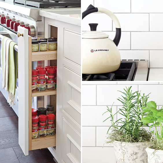 hidden cabinets, fresh herbs and modern elements