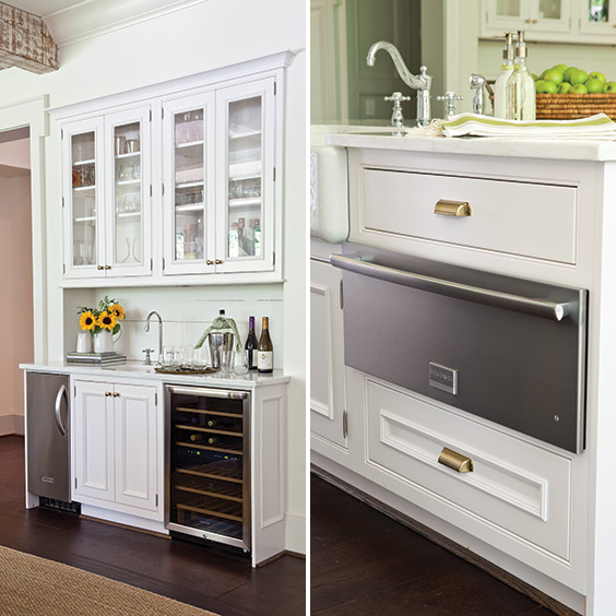wet bar and warming drawer