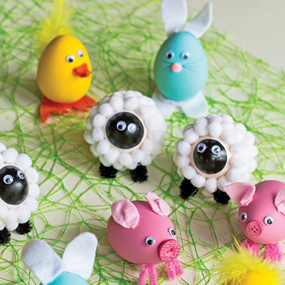 Display of farm animal egg creations