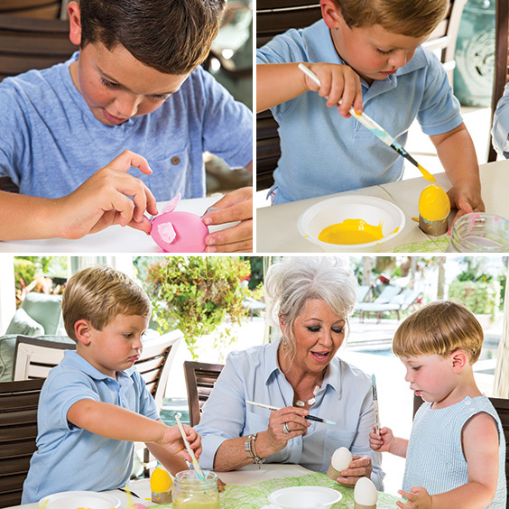 Paula and the grandkids creating farm animal eggs