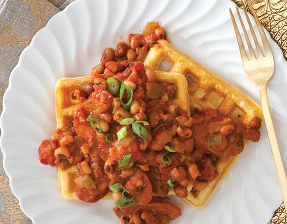 cornbread-waffle-pea-ragu