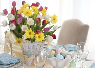 a table set for an Easter meal