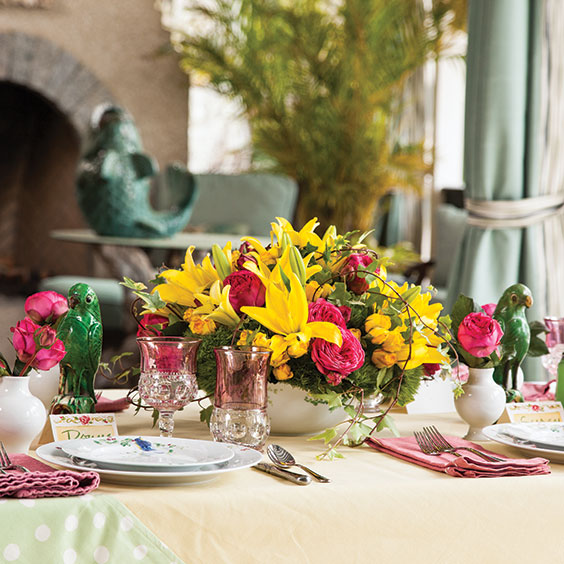 a table set for an Easter meal outside
