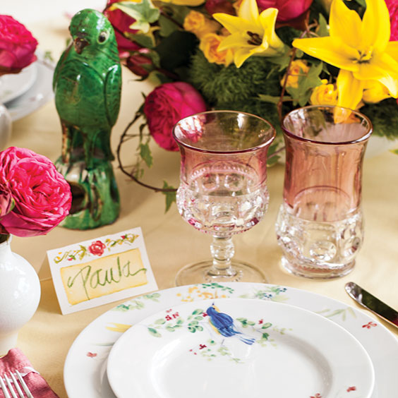 place setting on a table set for Easter