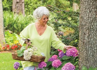 Paula Deen with hydrangea flowers