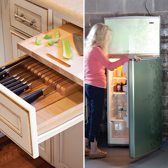knife drawer and extra fridge