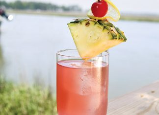 pineapple-cranberry-lemon rum punch