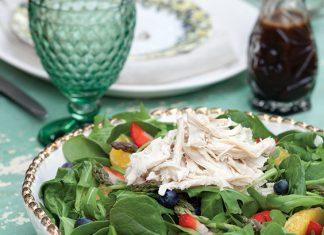 garden chicken salad with honey-balsamic vinaigrette