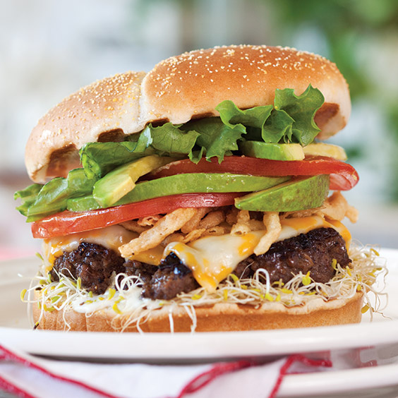 burger with avocado and sprouts