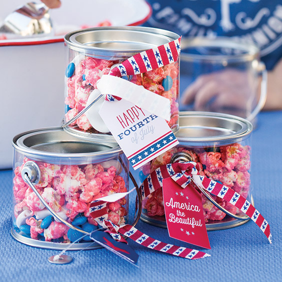 patriotic gift tags on containers of snack mix