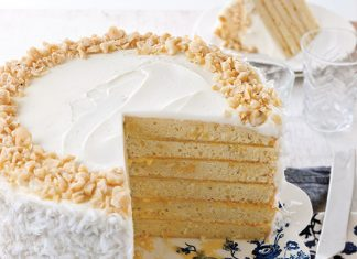 coconut cake with mango filling
