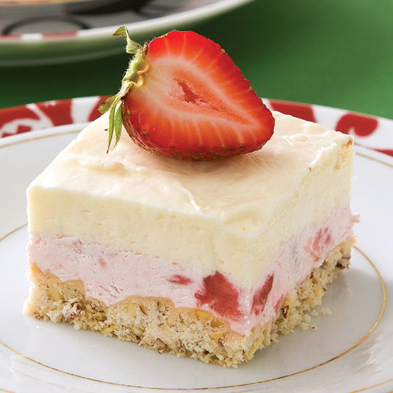 Frozen White Chocolate–Strawberry Squares