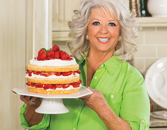 layer cakes; Paula Deen makes a shortcake with fresh strawberries