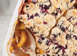 peach cobbler with blueberry drop biscuits