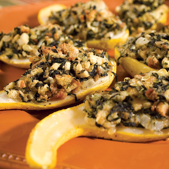 squash stuffed with spinach