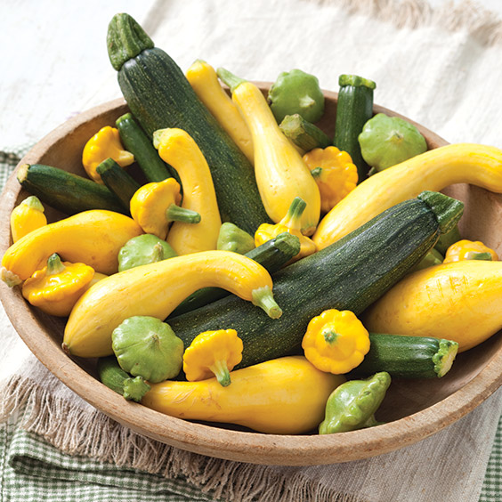 a bowl of squash and zucchini