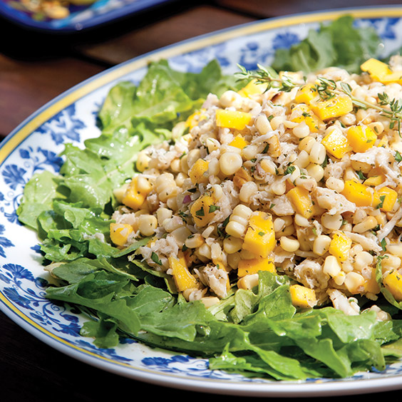 fresh corn, crab, and mango salad