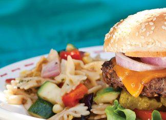 pasta salad and hamburger
