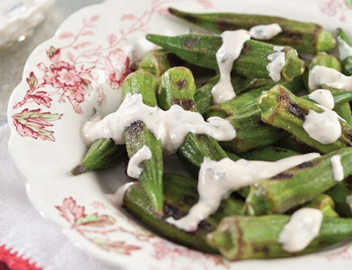 Grilled Okra with Creamy Chipotle Sauce