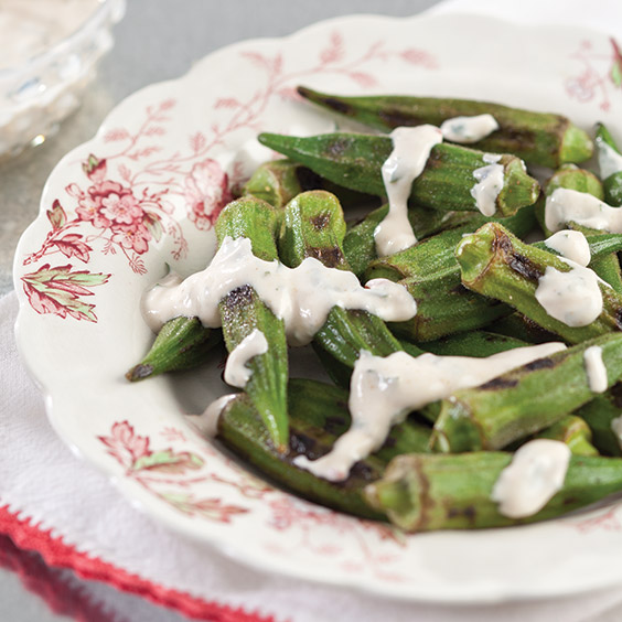 grilled okra with chipotle sauce