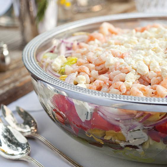 layered greek shrimp salad