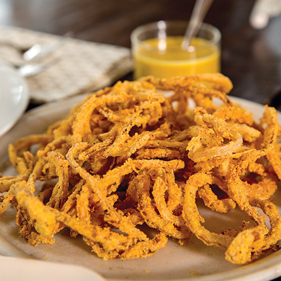 Cajun Shoestring Onion Rings With Mustard Dipping Sauce