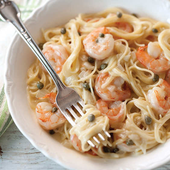 SPRING PASTA lemony shrimp and caper pasta