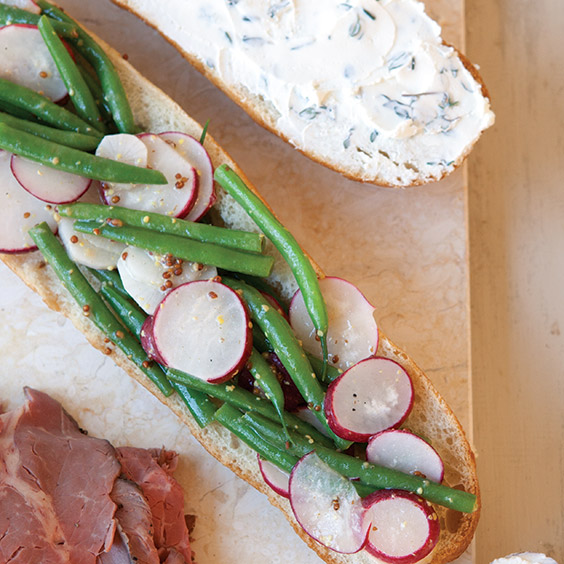 roast beef and radish hero sandwich