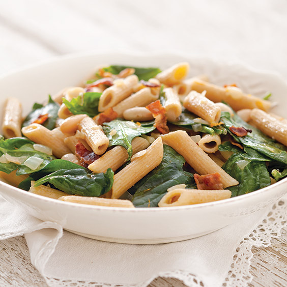spinach and white bean pasta salad