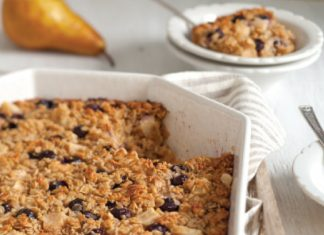 Baked Blueberry Pear Spiced Oatmeal
