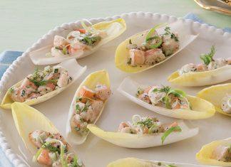 shrimp salad in endive leaves