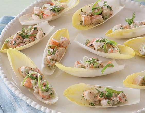 shrimp salad in endive leaves